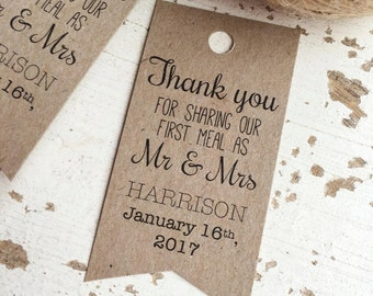 Rustic First Meal Tags Pk20