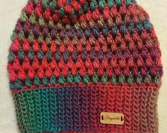 Tropical Multi-color Puff Stitch Beanie
