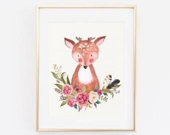 PRINTABLE wall art, Printable Floral woodland decor, Deer Art Print, baby nursery Deer decor, Woodland Animal, Deer Nursery Art Print Floral
