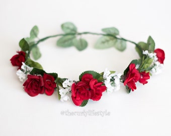 Luscious red flower crown