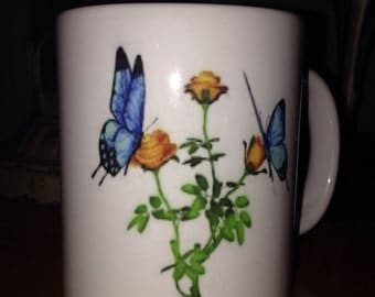 blue butterflies with yellow roses coffee mug, 11oz