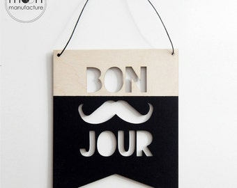 Bon Jour, wooden banner, wooden flag, wooden sign, wall hanging, wooden wall decor, wall decor, nusery decor, kidsroom decor