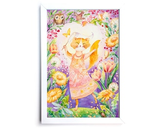 Happy Ginger Cat Dancing with Butterfly. Watercolor Art Print 7,8x11,8