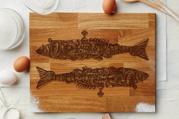 Steampunk Wedding Gifts: Cutting Board Steampunk Fish Wedding Gift By