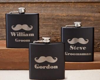 Black Matte Mustache Flask - Free Personalization - GS5668