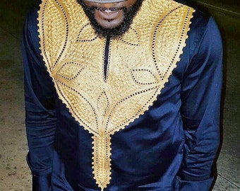 Men's African Wear, Black, navy blue with Gold Embroidery, African Print, African Designs, African Clothing, African Fashion