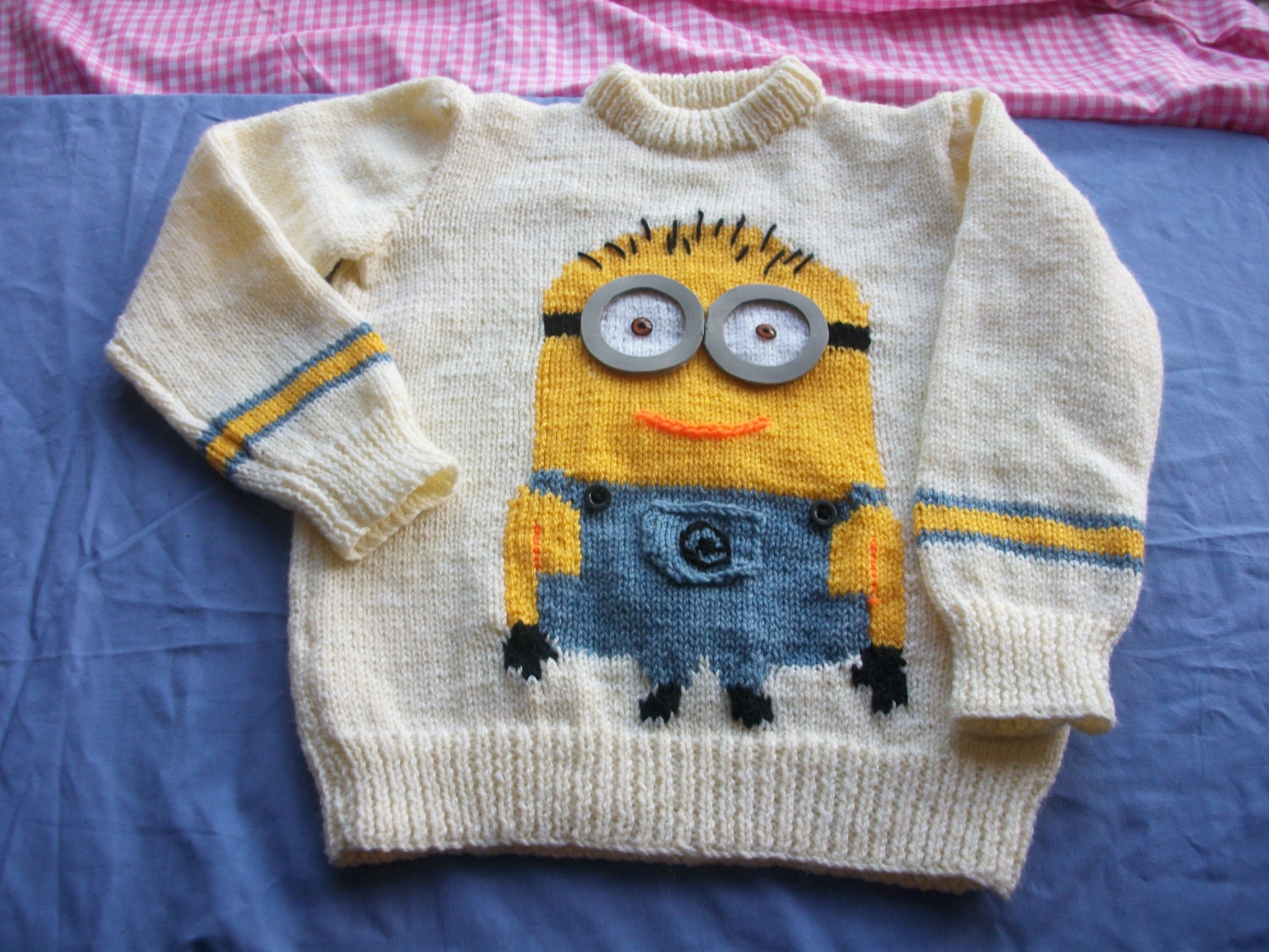 Knitting Pattern For Minion Jumper : Boy or girl pullover. Minion picture knitting. Knitting