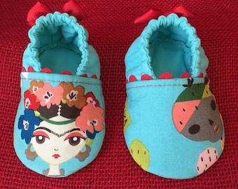 "Frida Kahlo Baby Moccasins. ""Esperanza"" (Hope).  Aqua and Red"