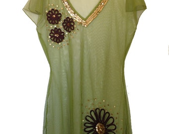 Persaman Shear Embellished Top/Cover up