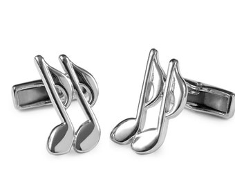 Silver musical note cufflinks