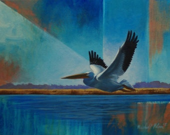 """Fine art print of an original oil painting titled, """"White pelican"""""""