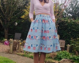 Midi skirt, handmade, high waist,beach hut and named seaside towns midi skirt. Pockets and pleats. British Style! Elegant