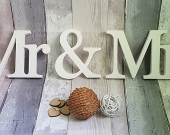 Mr & Mrs Wooden Wedding Letters, Mrs and Mr Freestanding Wooden Wedding Letters, Wedding Keepsakes, Wedding Gifts