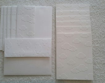 White cloud embossed 6 Card Set Gift Set with Matching envelopes - Blank inside - Note set - Any occasion - Thank you cards - Invitations