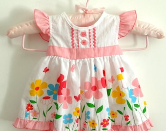 Baby girl dress vintage 3 months 6 months, floral girls dress up, infant clothes, girls baptism, birthday present gift