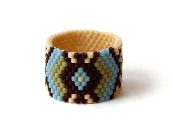 Boho ring for women Wide band ring Peyote seed bead ring Ethnic ring size 4 5 6 7 8 9 10 11 12 13 14 Womens unique ring Boho style ring band