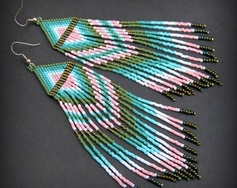 Hippie ethnic earrings for her Fringe seed bead earrings Long colorful earrings  Beaded jewelry Lightweight statement earrings Boho earrings