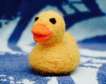 1.5 inch Yellow Needle Felted 'Rubber' Ducky Toy (Real Wool) Duck