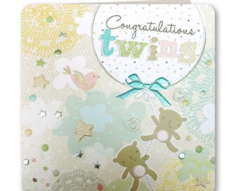 Congratulations Twins Card - New Twins - New Twins Card - New Baby Twins - Congratulations - Boy or Girl