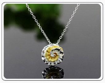 sterling silver swirl flower necklace, flower necklace, flower pendant, swirl flower, swirl necklace, swirl flower pendant, nature jewelry