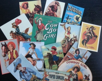 BB02C --  Lot of 14 VINTAGE Cowgirls Horses Category 4 Scrapbooking Free Shipping