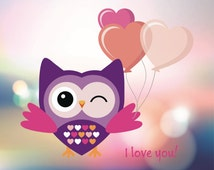 I love you card with owl and baloons Silhouette design vor cutting machine - SVG PDF DXF Eps Png owl vector for download