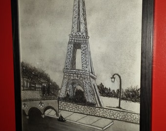 The Eiffel Tower... Charcoal Drawing
