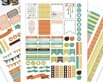 Boho Planner Stickers Printable,Weekly Kit, Stickers for ERIN CONDREN LIFEPLANNER™,Planner Kit, Washi,Eclp stickers,Instant download