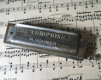 """The """"Chromonica"""" Chromatic Harmonica made by M. Hohner Germany, Steampunk"""