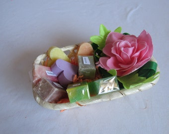 Gift basket natural soap Green clay and pink confetti