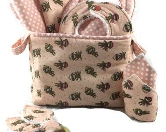 Baby Shower Gift Basket, 9 Piece Set, Baby Accessories, Baby Blanket, Burp Cloths, Baby Bibs, sock monkey Blanket, Diaper Caddy, Baby Gift