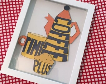 Coffee Time, Plus! Adorable shadowbox depicting a bold retro coffee pot and mug...plus a little snack, too!