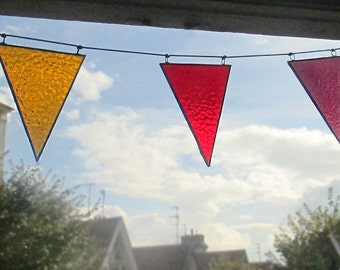 Stained Glass Bunting Garland | Red, Orange & Plum