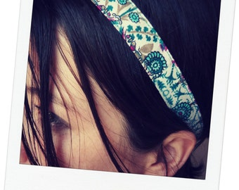 headband, head jewelry elegant mind Japanese fabric pink and blue