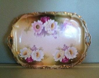 RC rosenthal hand painted porcelain dresser tray alice bavaria artist signed vintage shabby chic boudoir decor