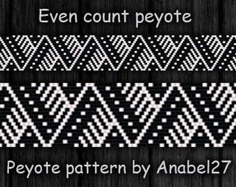 Black & White peyote pattern - beadwork - ethnic style - monochrome -  bead pattern #81