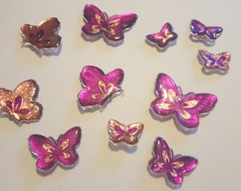 Metallic Resin Butterfly Magnets, Butterfly Magnets, Set of 11