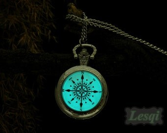 Silver compass pocket watch necklace,Glowing pocket watch with 25mm glow cabochon,Antique bronze pocket watch necklace,Glow in the dark
