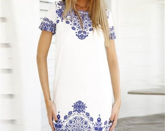 Casual white and blue dress