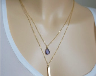 Delicate Drop Necklace / Bridesmaids Necklace 14k Filled Chain, Layered Necklace / Just1Gold / Amethyst Briolette, Wedding Jewelry Gift