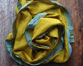 Lemon Verbena Silk Scarf, Yellow Hand Dyed Scarf, Handmade Scarf, Valentine Gift, Gift for Her, Boho Accessories, RISDteam, Scarf, Silk