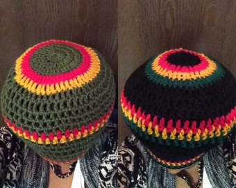 Crowned Rasta Hat/Tam- Black/Red/Gold/Green or Green/Red/Yellow