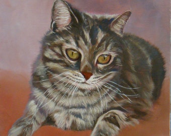 Kitten Ghibli portrait of cat, original and unique oil painting by Anne Zamo