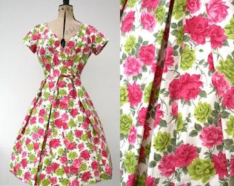 Horrockses 1950s dress roses full circle dress original vintage