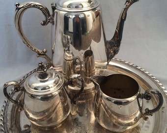 Vintage Wm Rogers Tea Set with Serving Tray