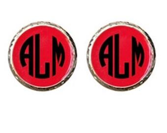 Monogrammed Red Enamel Stud Earrings - Enamel Jewelry Personalized Custom Best Selling Gift for Her Bridesmaid gift Custom Circle Monogram