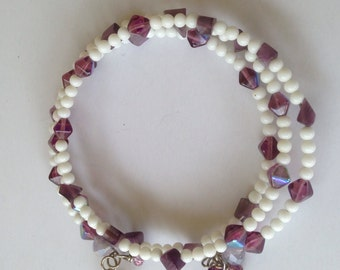 Purple Crystal and White Beaded Memory Wire Bracelet