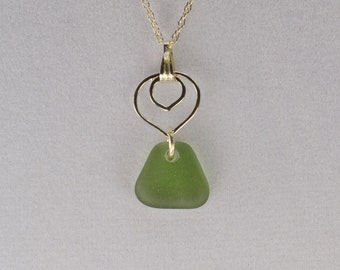 Pendant sterling sea/green olive/silver glass