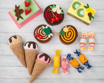 Felt food set Doll food Felt pretend play Felt sweet Felt toy Tea party game Felt decor Dollhouse food Play kitchen food Ice cream Girl gift