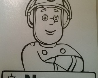 Personalised Fireman Sam decal